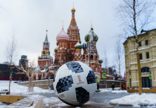 ballon worldcup sur la place rouge de Moscou