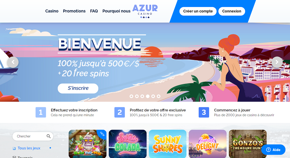 azur casino interface