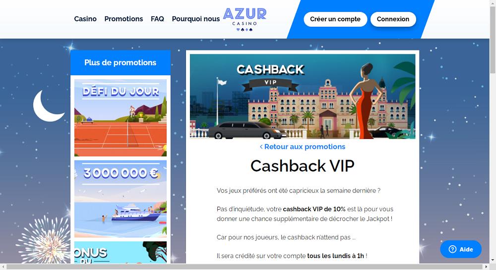 cashback sur azur casino