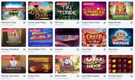 jeux disponibles sur Bitcasino