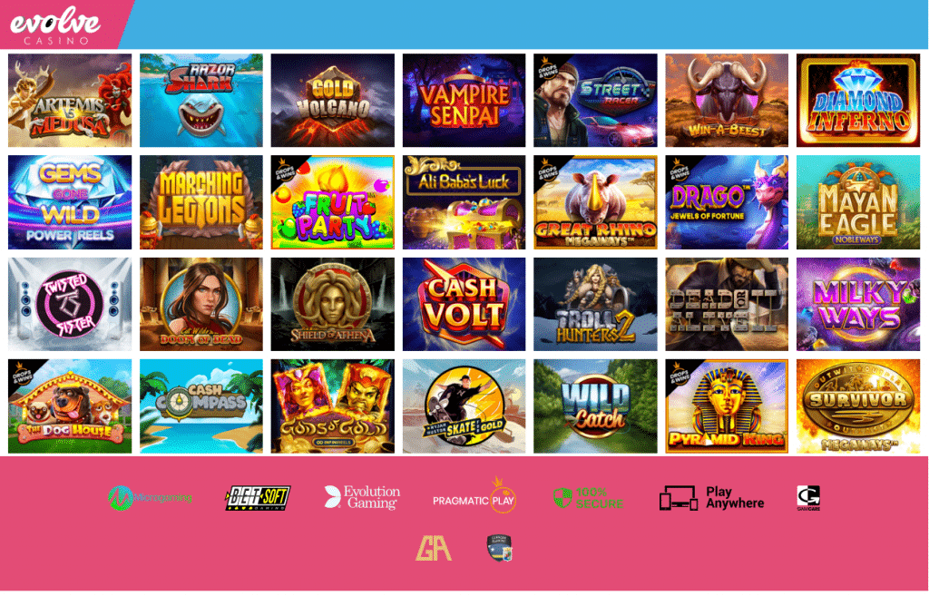 ludotheque de jeux Evolve casino