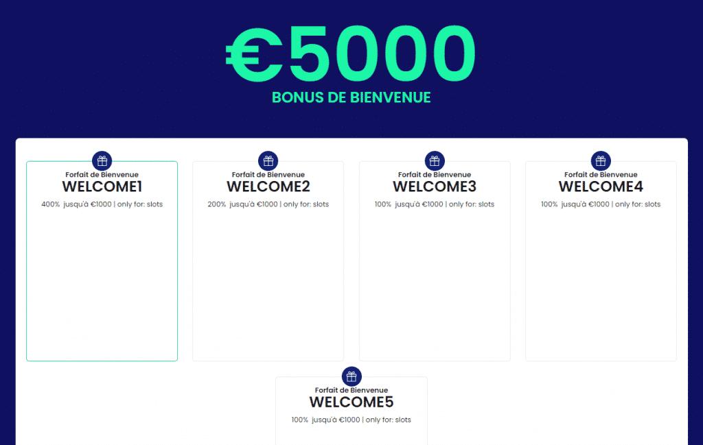 5000 euros bonus de bienvenue welcome casinobtc bet
