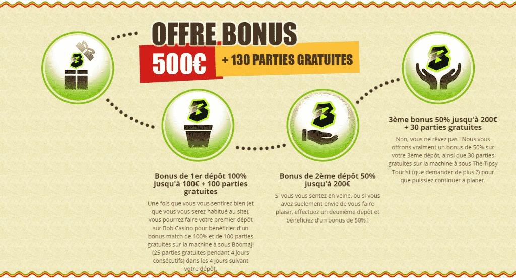 bonus 500 euros + 130 parties gratuites sur bob casino