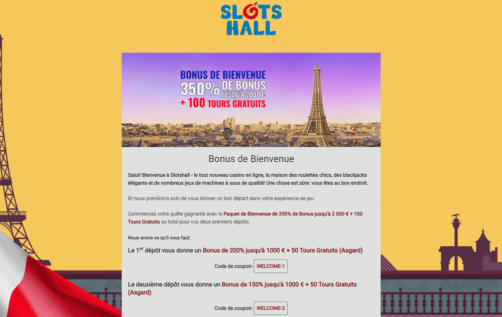 bonus bienvenue slots hall casino