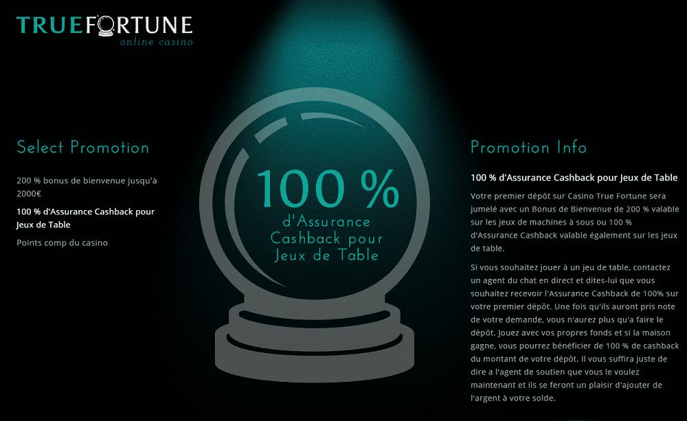 true fortune promotion 100% cashback