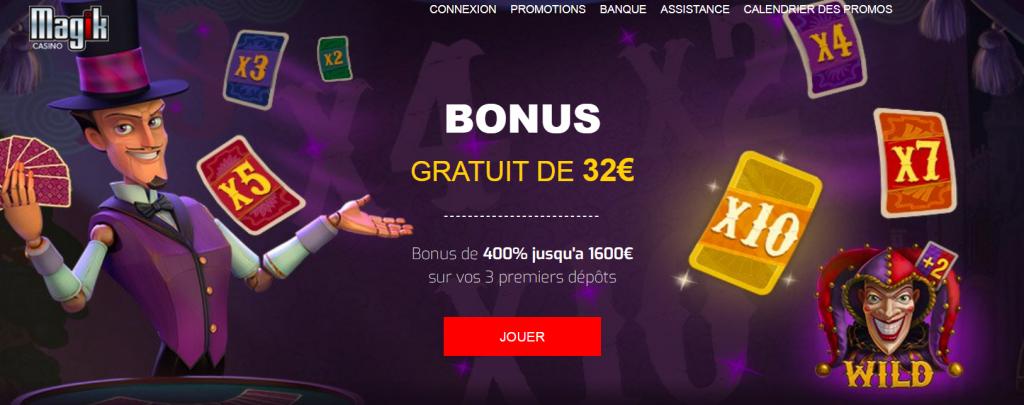 bonus gratuit 32 euros magik casino