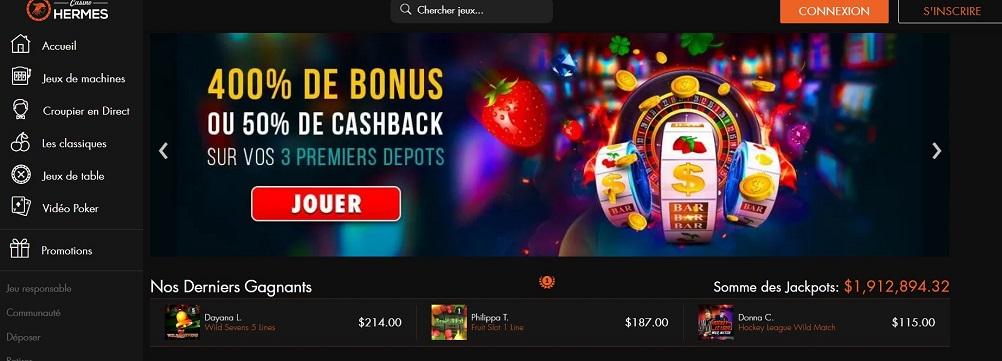 casino hermes bonus de bienvenue