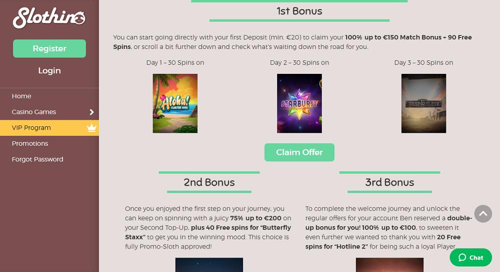 les trois bonus proposés par slothhino casino