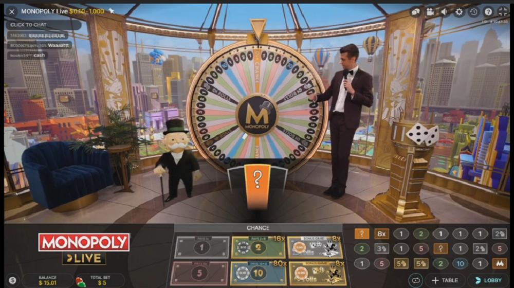 Monopoly Live roue et presentateur