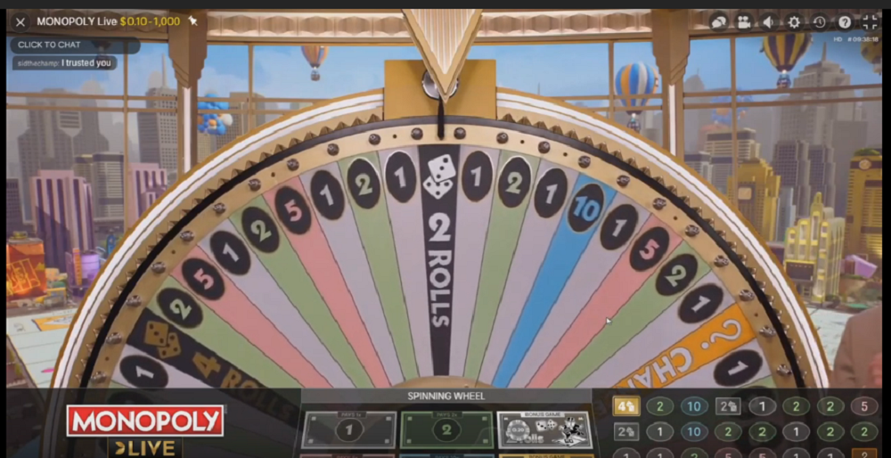 roue et bonus Monopoly Live