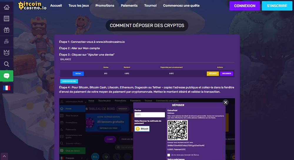 comment deposer des cryptos sur bitcoincasino