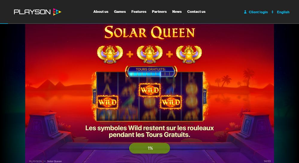 Solar Queen de Playson sur Lucky8