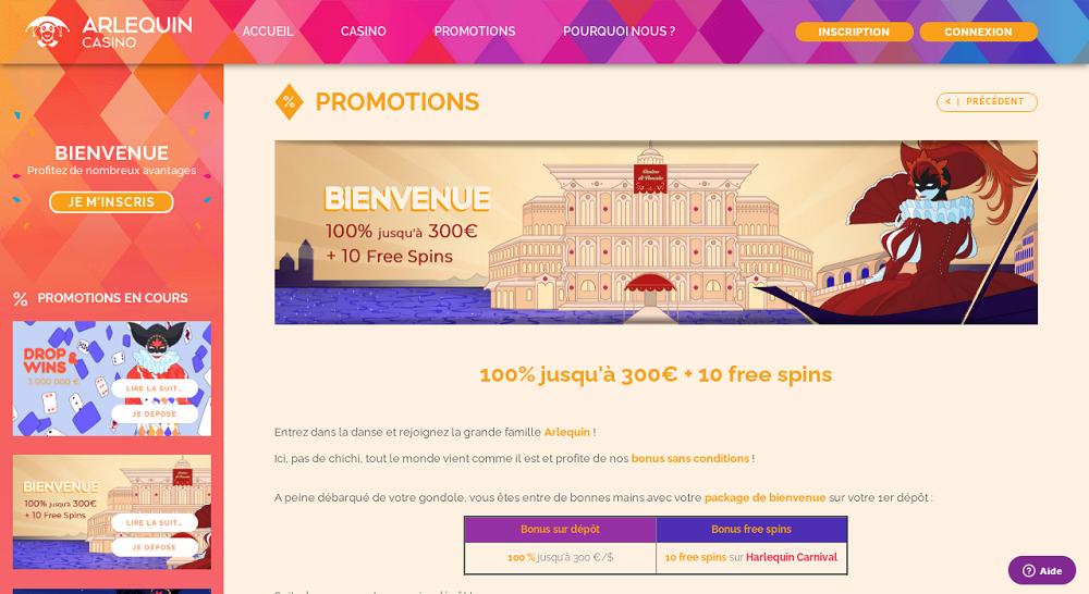 Arlequin Casino promotions