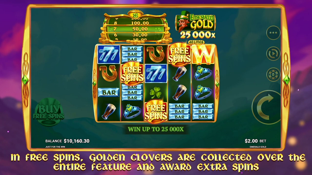 emerald gold free spins