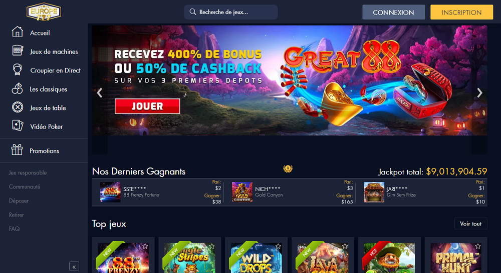 europe777 casino interface