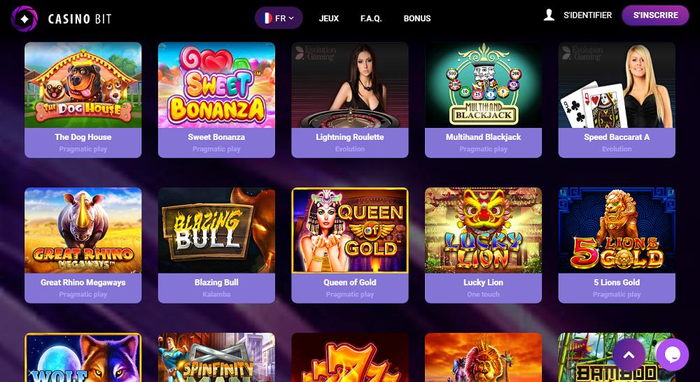 jeux et les éditeurs casinobit