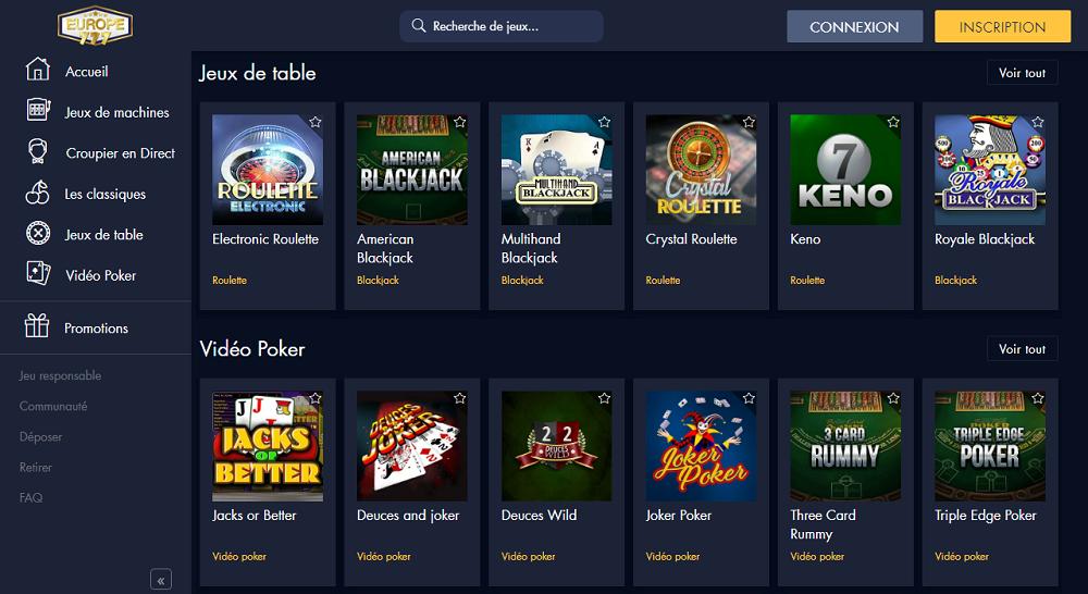jeux europe777 casino