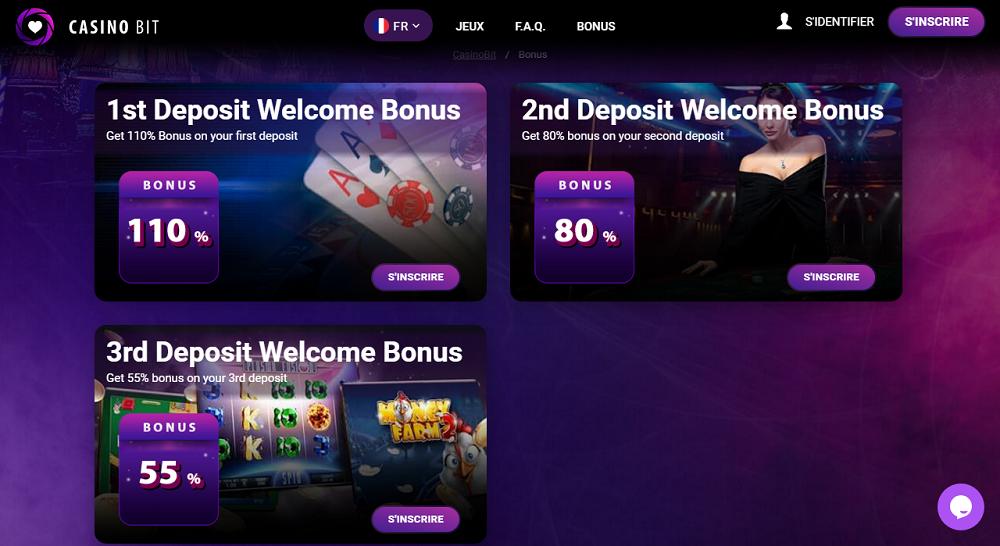 trois bonus bienvenu sur casinobit